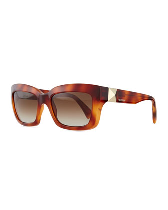 Rockstud-Temple Rectangular Sunglasses, Blonde Havana