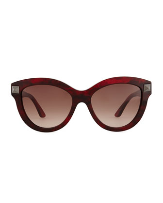 Rockstud-Temple Cat-Eye Sunglasses, Red Havana