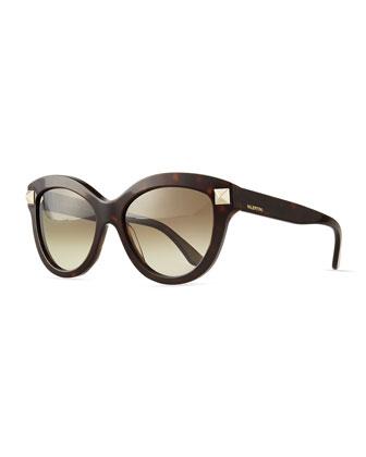 Rockstud-Front Cat-Eye Sunglasses, Havana