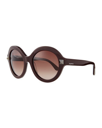 Rockstud Round Sunglasses, Rubin Brown