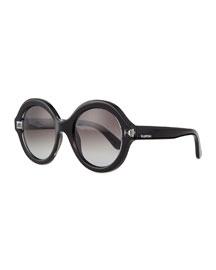 Rockstud-Front Round Sunglasses, Black