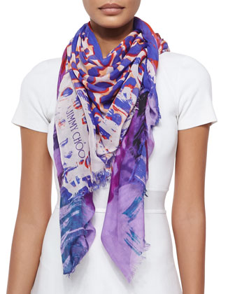 Printed Scarf, Purple/Multicolor