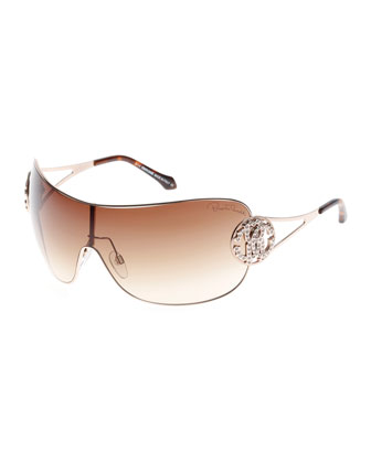 Shield Sunglasses with Crystal Monogram Logo, Rose Gold