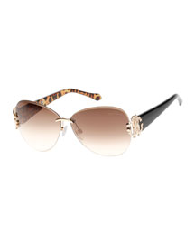 Butterfly Sunglasses with Animal-Print Detail