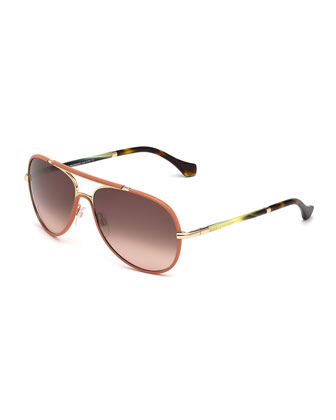 Leather-Covered Aviator Sunglasses, Coral