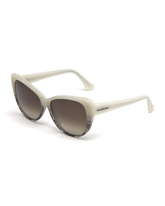Ombre Cat-Eye Sunglasses, White/Gray