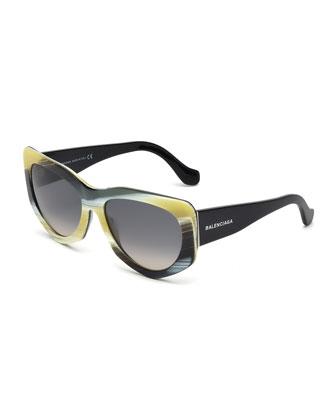 Angled Cat-Eye Sunglasses, Horn