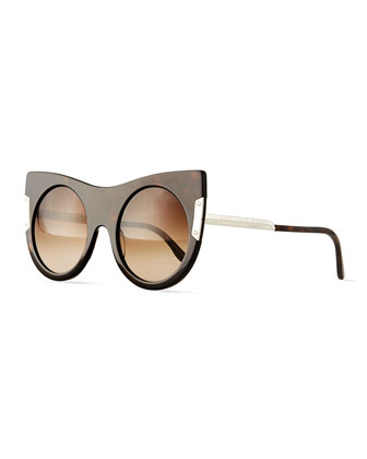 Round Sunglasses with Peaked Temples, Havana