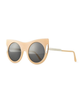 Round Sunglasses with Peaked Temples, Nude