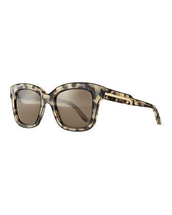 Acetate Square Sunglasses, Black/Gray