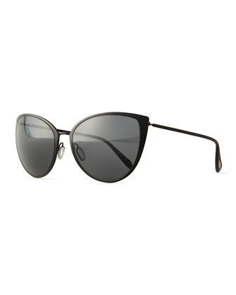 Jade Cat-Eye Sunglasses, Black