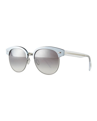 Shaelie Mirrored Semi-Rimless Sunglasses, Frost