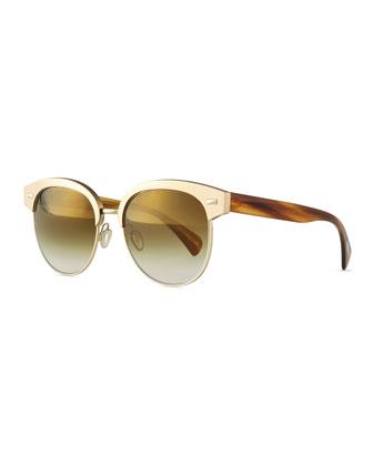 Shaelie Mirrored Semi-Rimless Sunglasses, Bronze