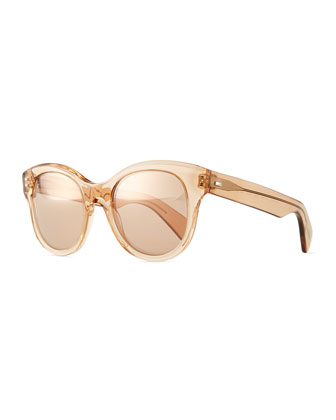 Jacey Mirror Oval Sunglasses, Blush