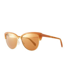 Alisha Mirror Butterfly Sunglasses, Terra-Cotta/Peach