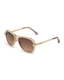 Leather-Wrapped Aviator Sunglasses, Off White