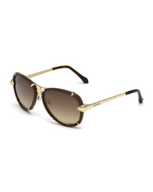 Leather-Wrapped Aviator Sunglasses, Brown