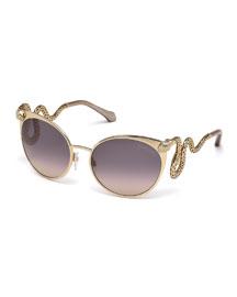 Snake-Temple Cat-Eye Sunglasses, Rose