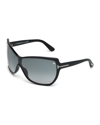 Ekaterina Shield Sunglasses with Screws, Black