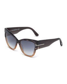 Anoushka Butterfly Sunglasses, Gray/Brown