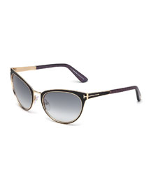 Nina Cat-Eye Sunglasses, Black