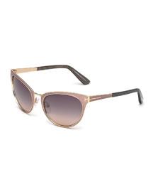 Nina Cat-Eye Sunglasses, Nude