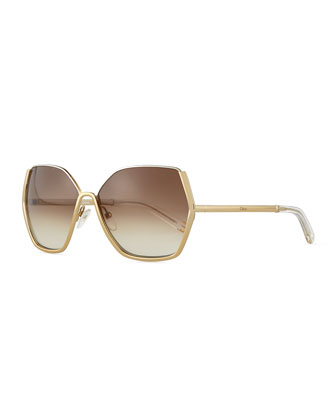 Danae Hexagon Butterfly Sunglasses, Gold/Silver