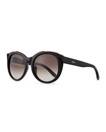 Dallia Golden Arrow Round Sunglasses, Black