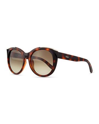 Dallia Crystal Arrow Round Sunglasses, Havana
