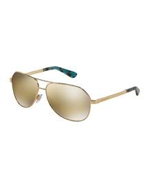 Mirrored Aviator Sunglasses, Golden