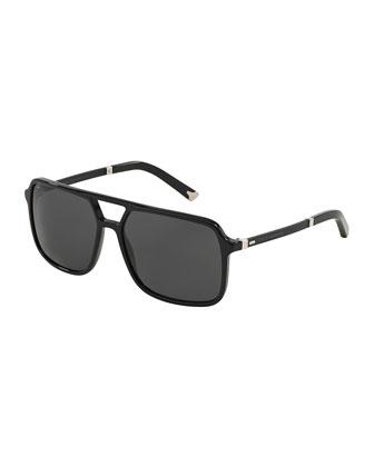Mixed-Media Rectangular Aviator Sunglasses, Black