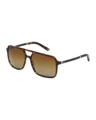 Mixed-Media Polarized Rectangular Aviator Sunglasses, Havana Tortoise