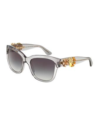 Jewel-Encrusted Sunglasses, Gray