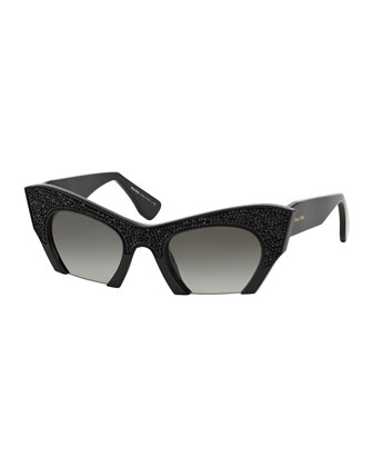 Cat-Eye Jewel-Encrusted Sunglasses, Black