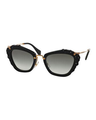 Jeweled Cat-Eye Acetate Sunglasses, Black
