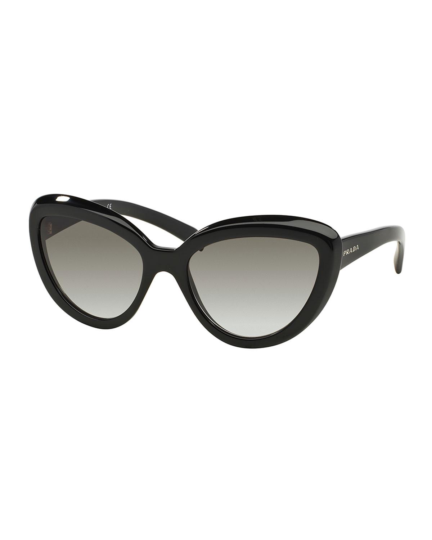Prada Thick-Rim Cat-Eye Sunglasses, Black