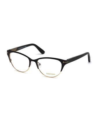 Cat-Eye Fashion Glasses, Rose Gold/Black