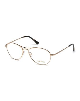 Small Aviator Fashion Glasses, Rose Golden