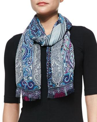 Paisley/Stripe Scarf, Blue/Purple