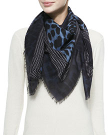 Square Shaded Leopard Scarf