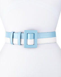 Two-Tone Leather Belt, Wedgwood/White