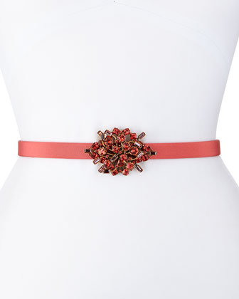 Thin Stone-Buckle Silk Faille Belt, Granita