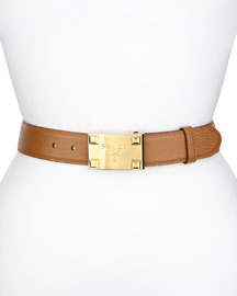 Saffiano Logo Buckle Belt, Caramel