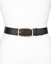 Tumbled Leather Belt, Black