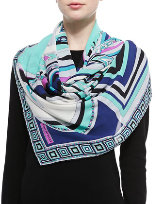 Scialle Mixed-Print Silk Scarf