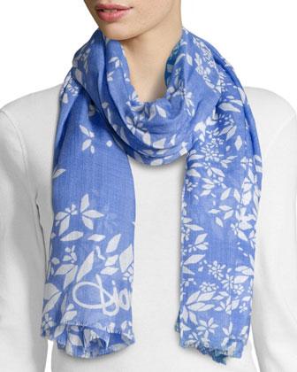 Ivy Floral-Print Scarf, Cornflower