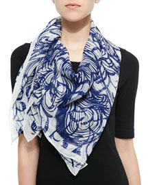 Wooster Printed Silk Square Scarf