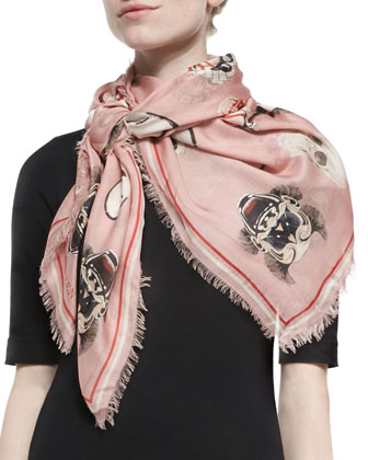 Mask-Print Square Scarf, Pink/White