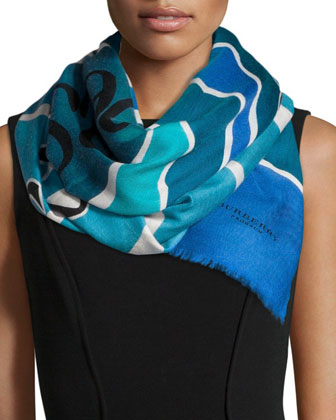Landscapes and Seascapes Scarf, Sky Blue
