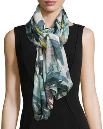 Floral Motif Silk Mesh Scarf, Moorea Teal